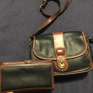 Vintage Coach matching leather bag and wallet